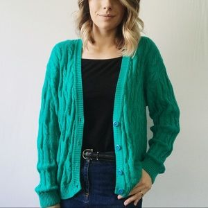 Vintage Retro Green Oversized Grandpa Cardigan